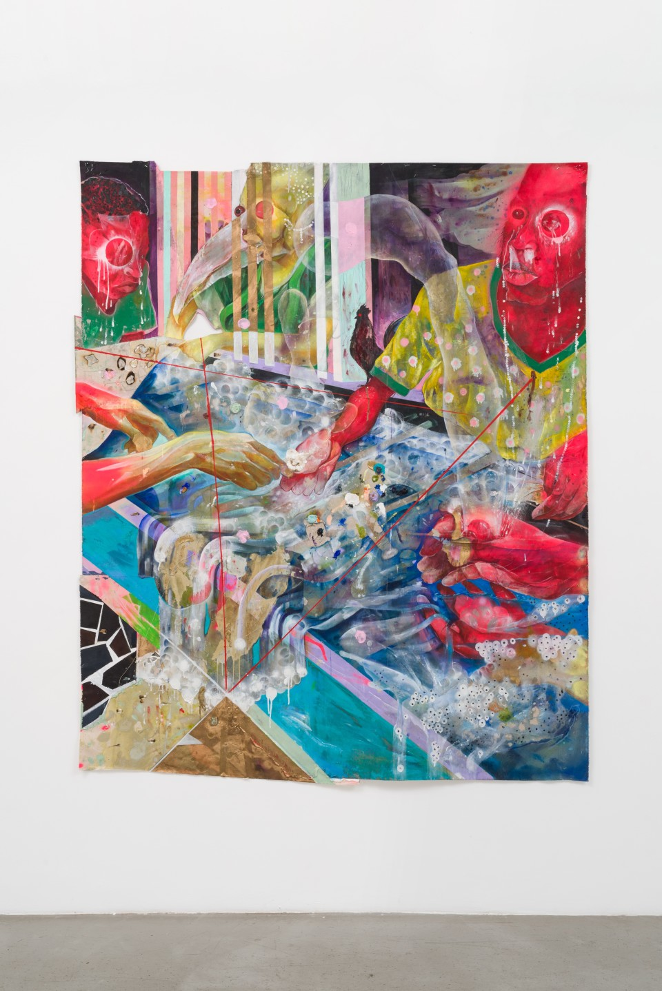 Image: Lavar Munroe  Bathwater, 2020  signed verso  dollar bills, sandwich bag, stem, staples, blunt, spray paint and acrylic on canvas  83 1/2 x 68 1/2 inches (212.1 x 174 cm)