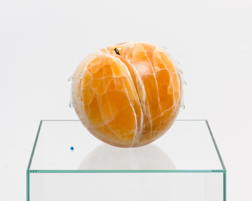 Artwork: Nevine Mahmoud  Fruit (Wet chord), 2020  Calcite, glass, steel, paint  10 x 10 x 10 inches (25.4 x 25.4 x 25.4 cm)