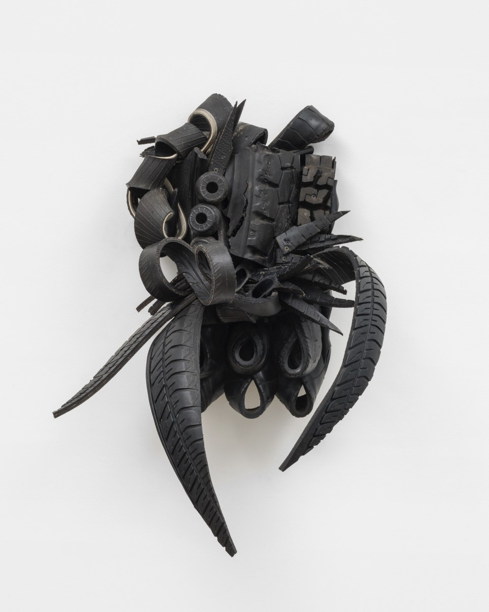 Image: Chakaia Booker  Open Call, 2011  rubber tires and wood  31 x 22 x 16 inches (78.7 x 55.9 x 40.6 cm)