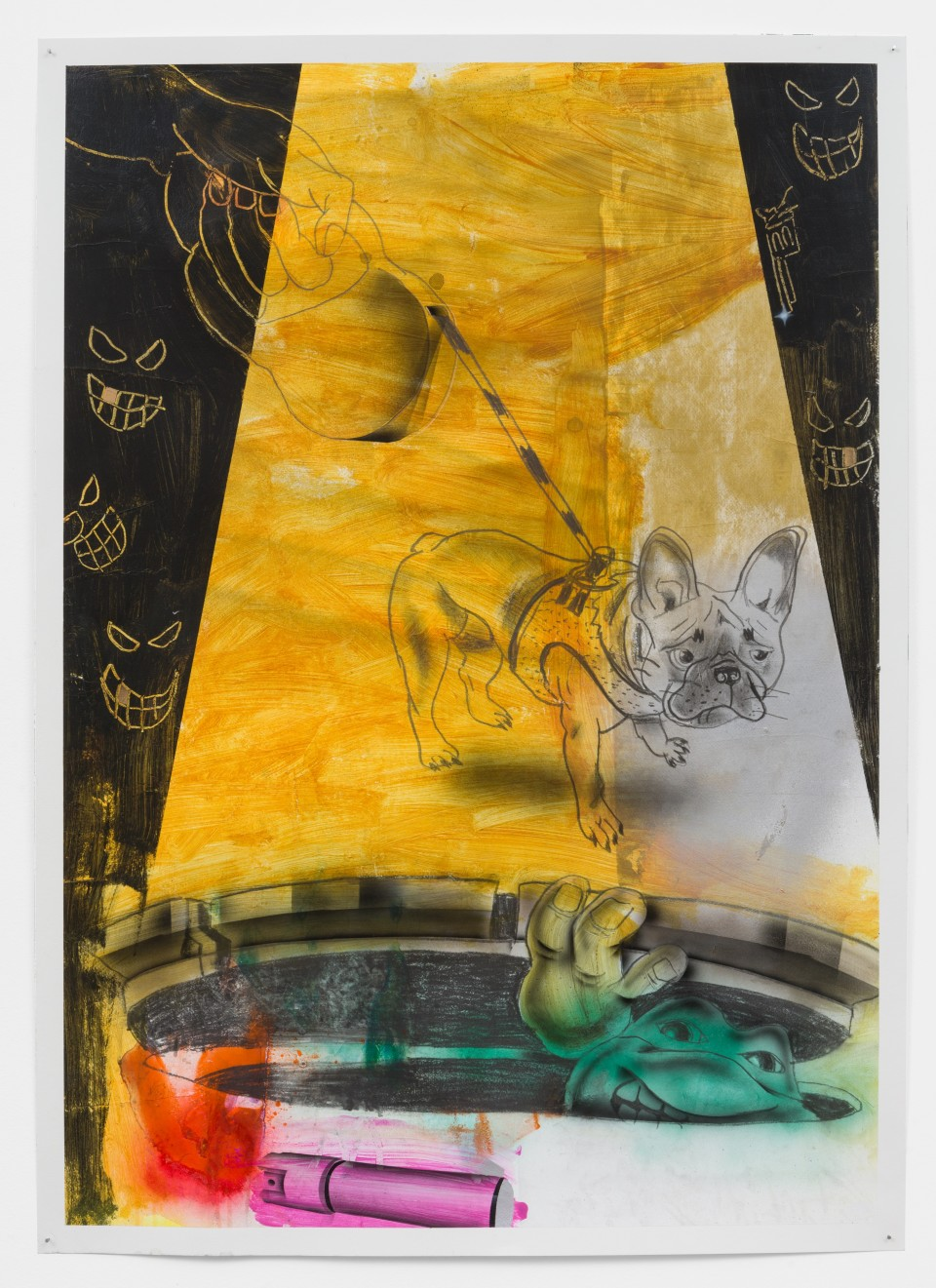 """Artwork: Pat Phillips  Untitled """"Bad timing"""" / """"They stealin' everybody Frenchie out here..."""", 2021  signed and dated verso  acrylic, pencil, graphite stick airbrush, aerosol paint on paper  paper size: 42 x 29 1/2 inches (106.7 x 74.9 cm)  framed size: 43 7/8 x 32 1/8 inches (111.44 x 81.59 cm)"""