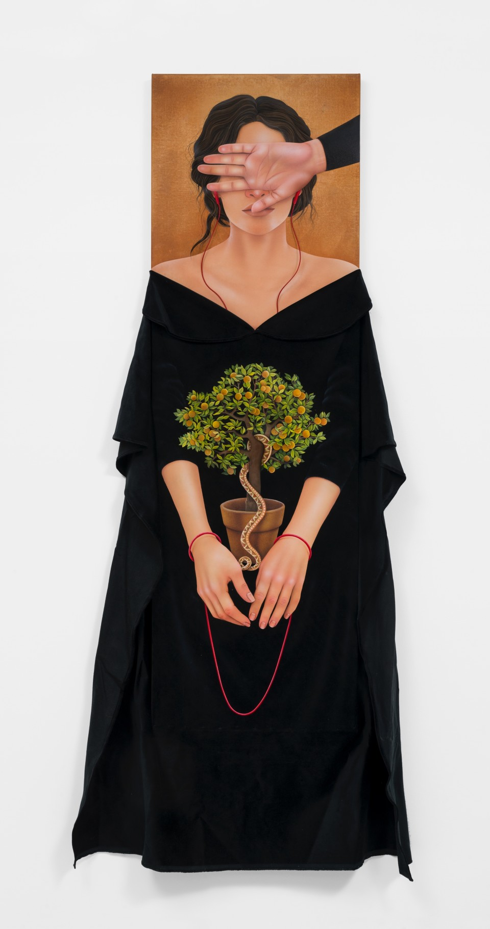 Image: Arghavan Khosravi  Eye Witness, 2019  signed and dated verso  acrylic on canvas and velvet textile mounted on shaped wood panels, leather cord  70 x 39 inches (177.8 x 99.1 cm)
