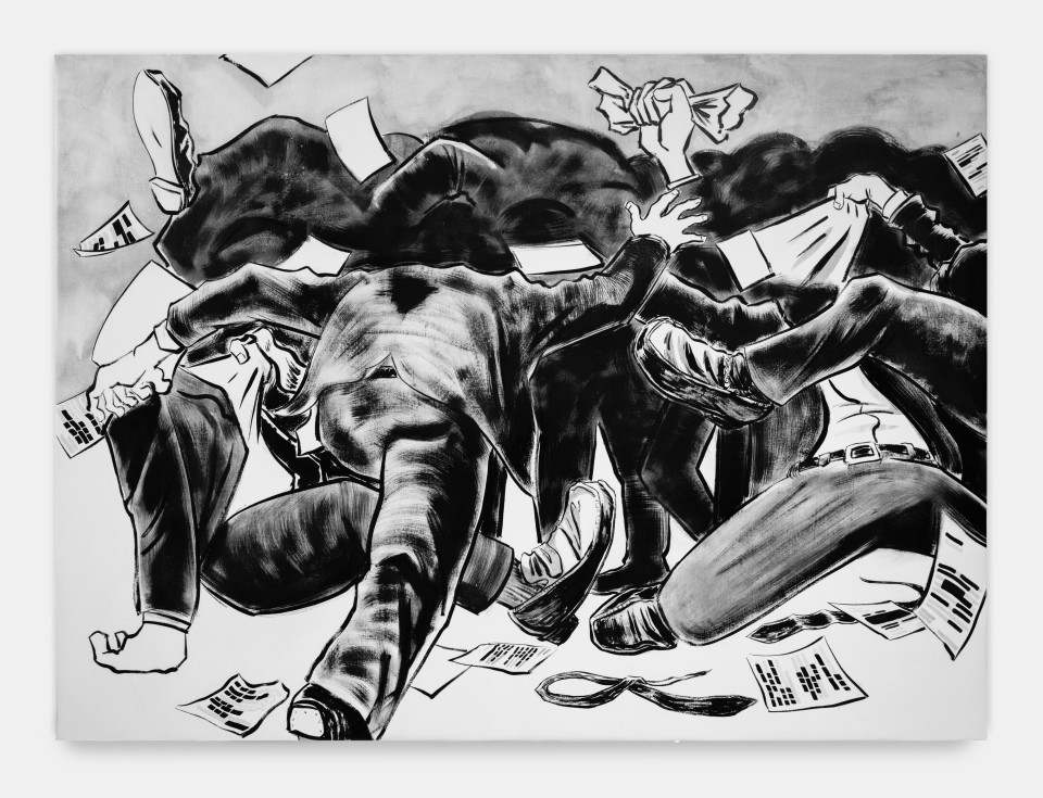 Image: Mark Thomas Gibson  Melee, 2020  signed, titled and dated verso  ink on canvas  66 x 89 1/2 inches (167.6 x 227.3 cm)