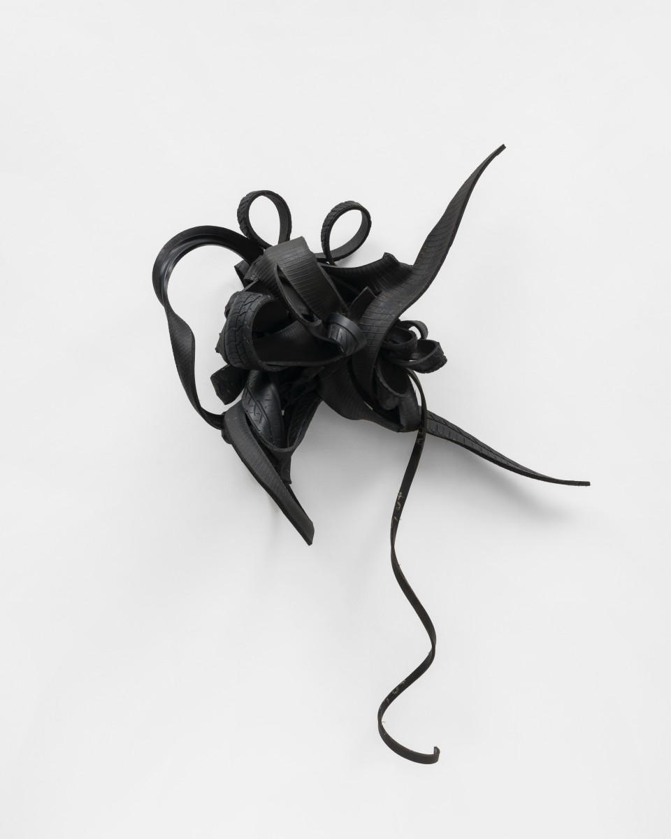 Image: Chakaia Booker  OTHER, 2020  rubber tires  62 x 43 x 17 inches (157.5 x 109.2 x 43.2 cm)