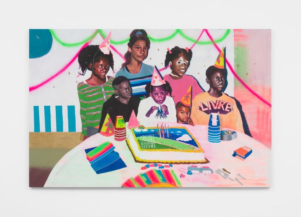 Image: Marlon Amaro  pt. 1 O mito da igualdade: sem titulo, 2021  signed, titled and dated verso  oil, spray, permanent pen, collage and glitter on canvas  56 x 86 inches (142.2 x 218.4 cm)