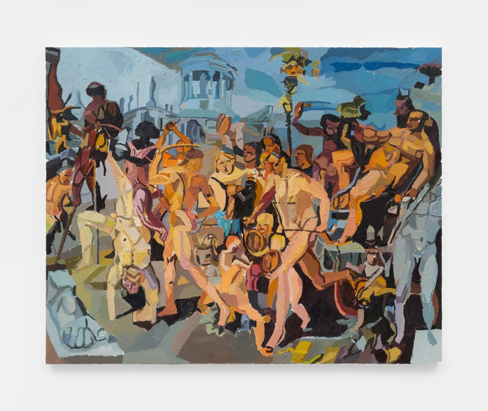 Image: Clintel Steed  The Triumphal Procession of Bacchus, 2019  signed, titled and dated verso  oil on canvas  48 x 60 inches (121.9 x 152.4 cm)