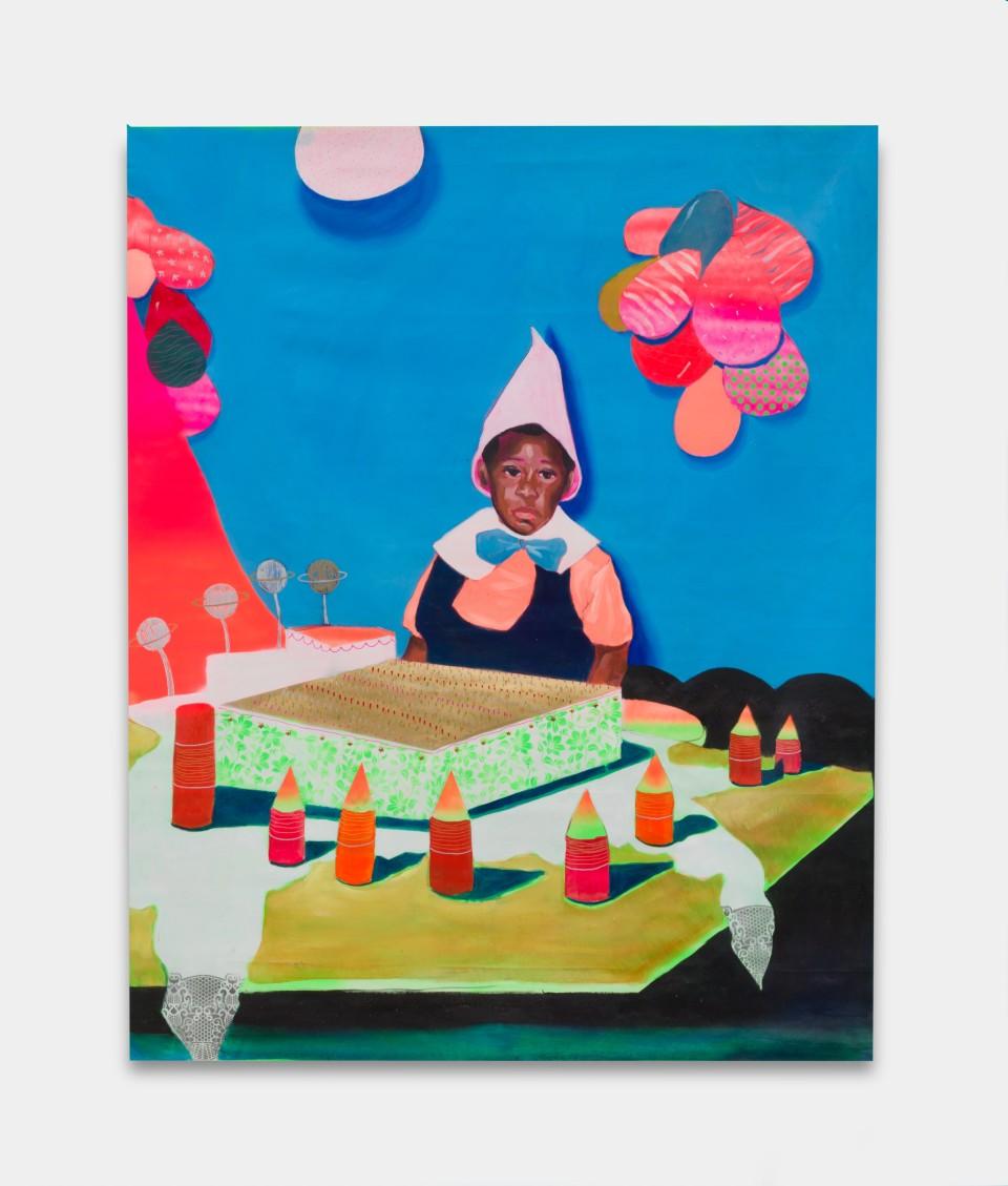 Image: Marlon Amaro  pt. 2 O mito da igualdade: Vocé não sabe é estar só, 2021  signed, titled and dated verso  oil, spray, permanent pen and glitter on canvas  79 x 59 inches (200 x 150 cm)