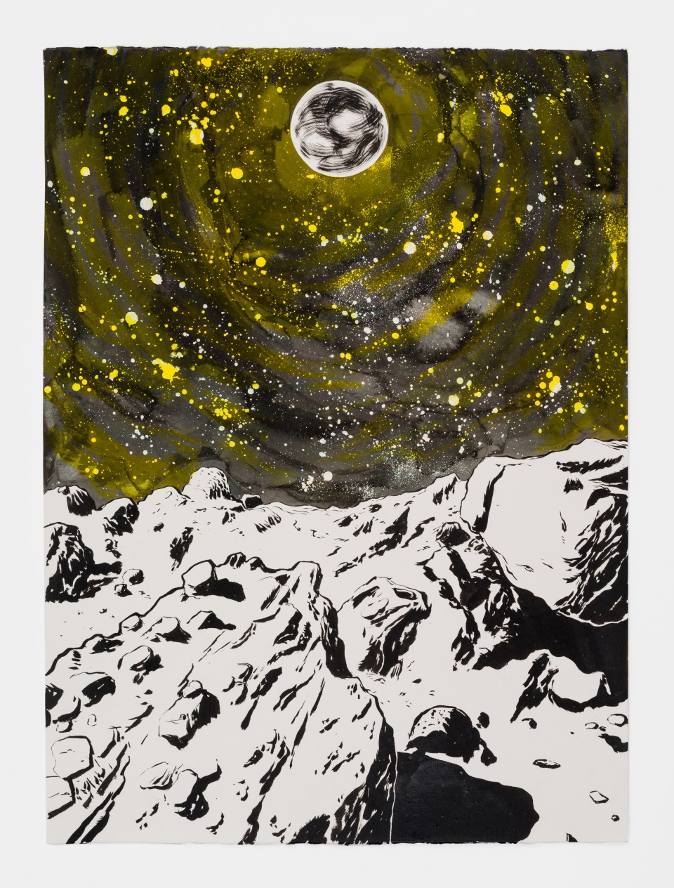 Image: Mark Thomas Gibson  They Called It Earth, 2020  ink on paper  30 x 22 inches (76.2 x 55.9 cm)