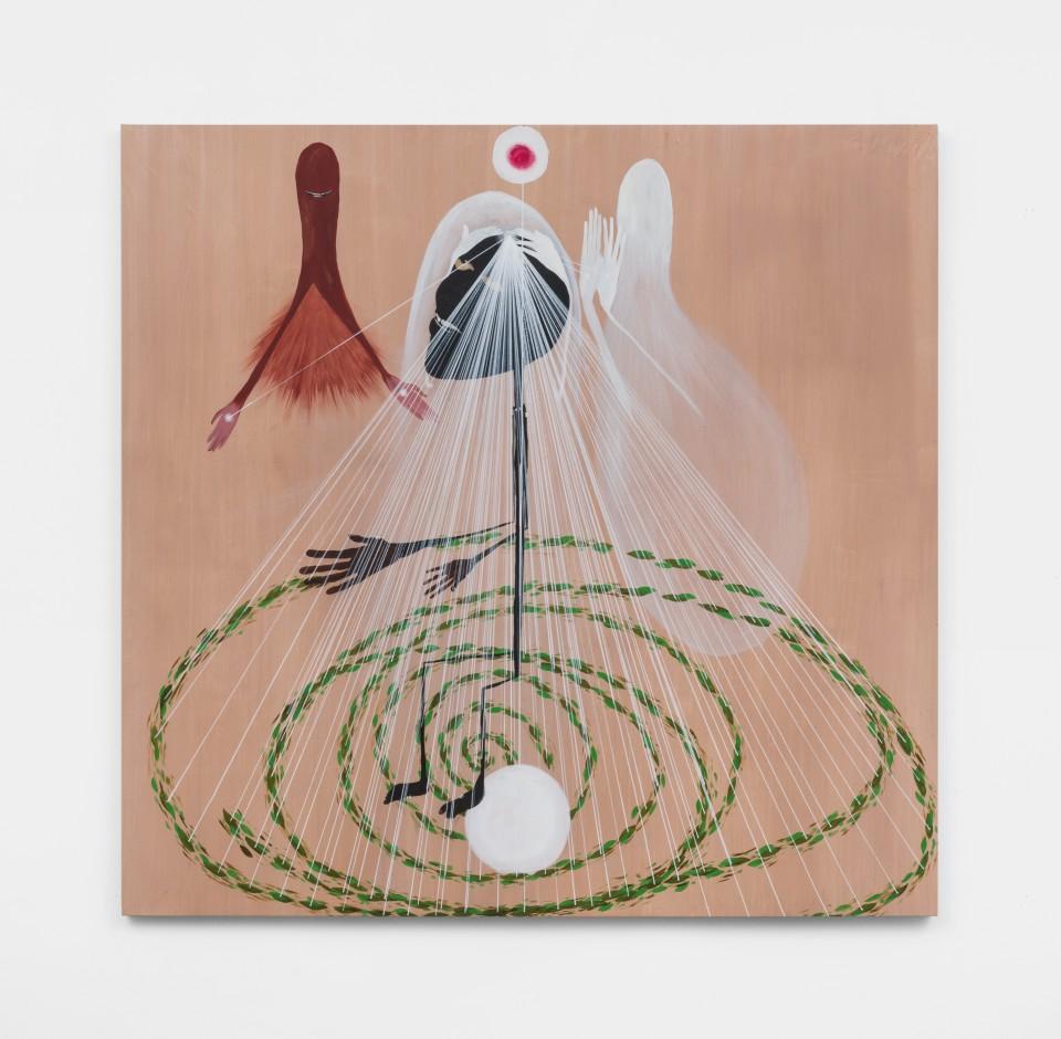 Image: Kelton Campos Fausto  A queda da gameleira, 2021  mixed media on canvas  62 x 64 inches (157.5 x 162.6 cm)