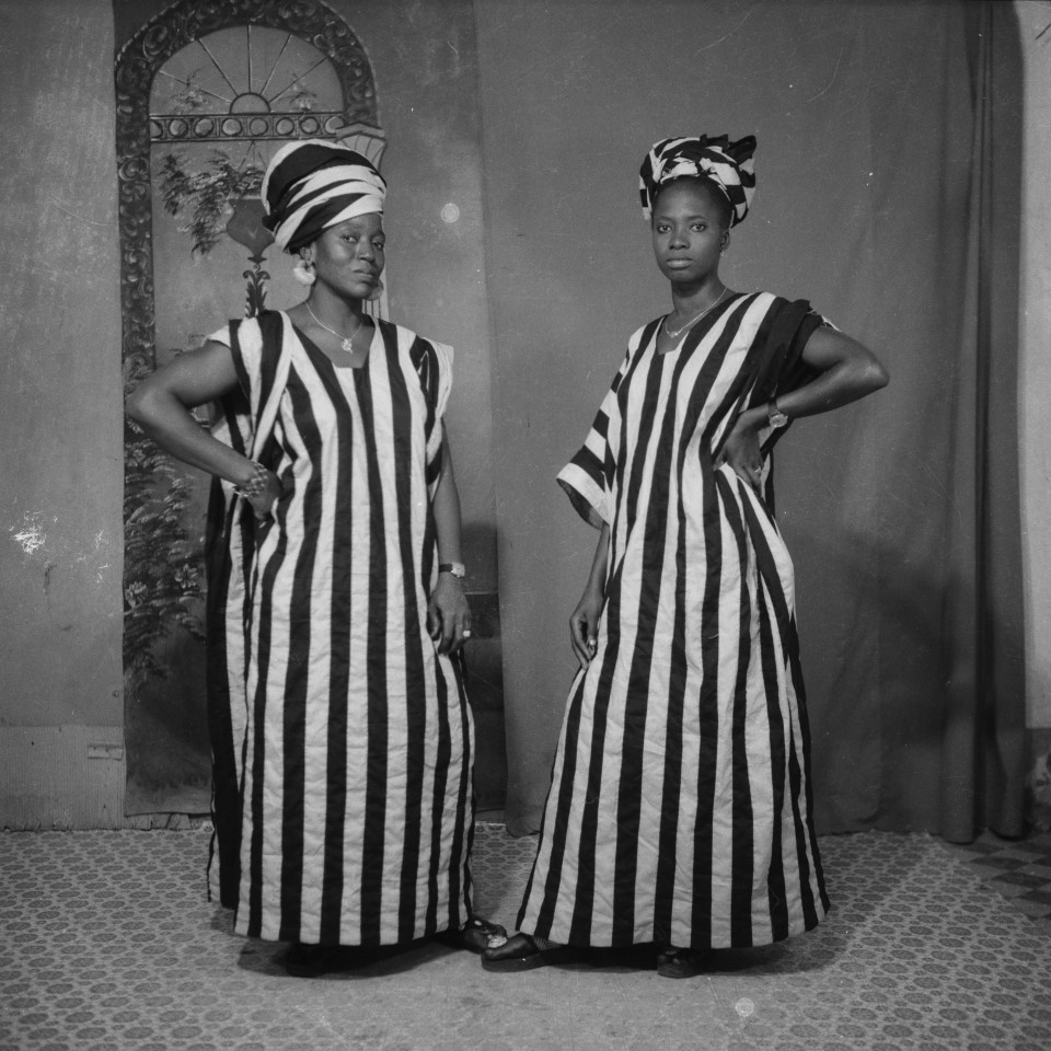 Image: Sanlé Sory  Maliennes Coquettes, 1969  signed, dated, titled and numbered verso  gelatin silver print  image size: 14-1/2 x 14-1/2 inches (36 x 36 cm) paper size: 20 x 16 inches (50 x 40 cm)  edition of 15 plus 5 artist's proofs