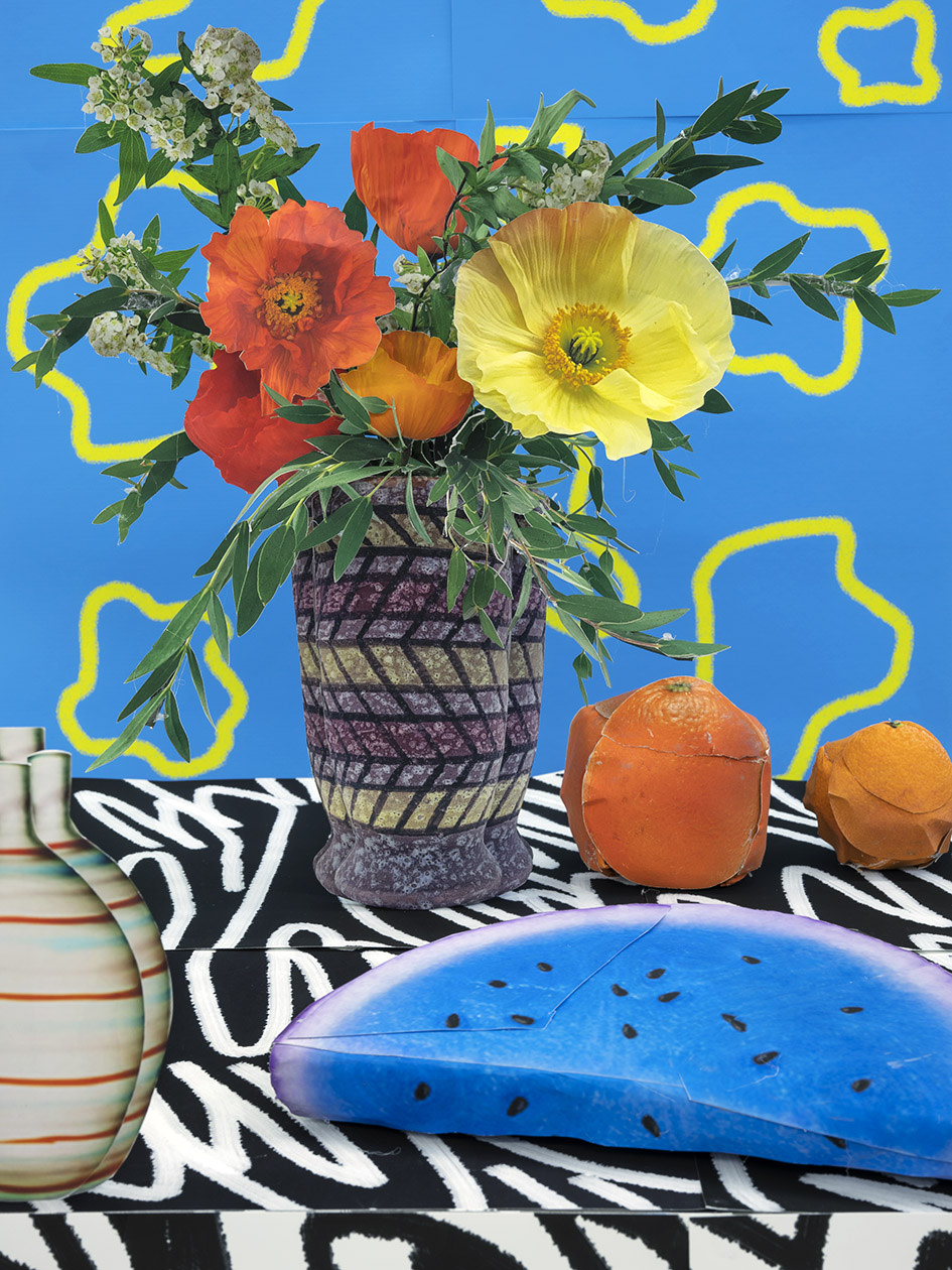 Artwork: Daniel Gordon  Poppies with Blue Watermelon and Oranges, 2021  pigment print with uv lamination  28 x 21 inches (71.1 x 53.3 cm)  edition of 3 plus 1 artist's proof