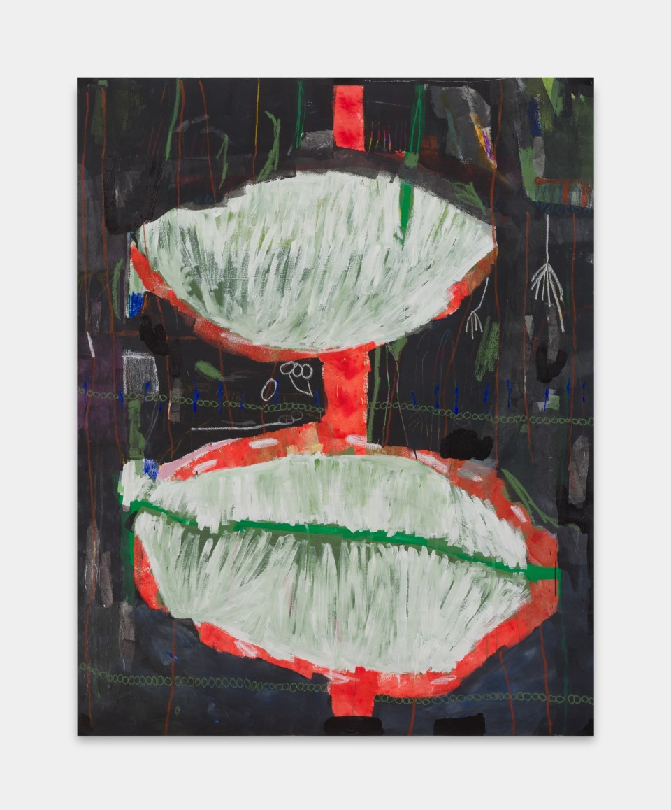 Image: Laís Amaral  WET HEAD (UNTITLED), 2021  signed and dated verso  acrylic and oil pastel on canvas  74 x 62 inches (187 x 157 cm)