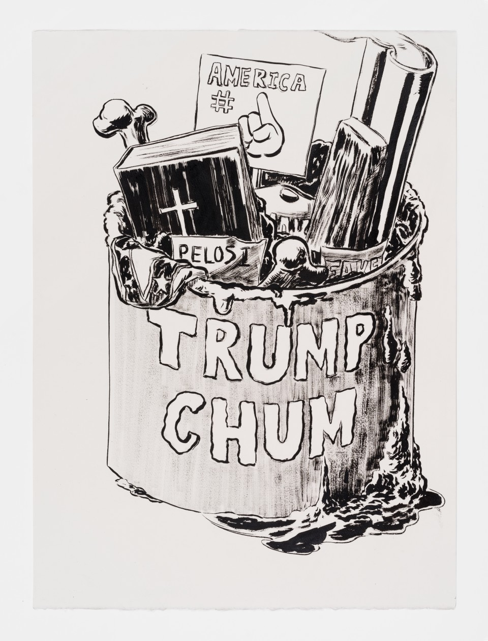 Image: Mark Thomas Gibson  Trump Chum, 2020  ink on paper  30 x 22 inches (76.2 x 55.9 cm)