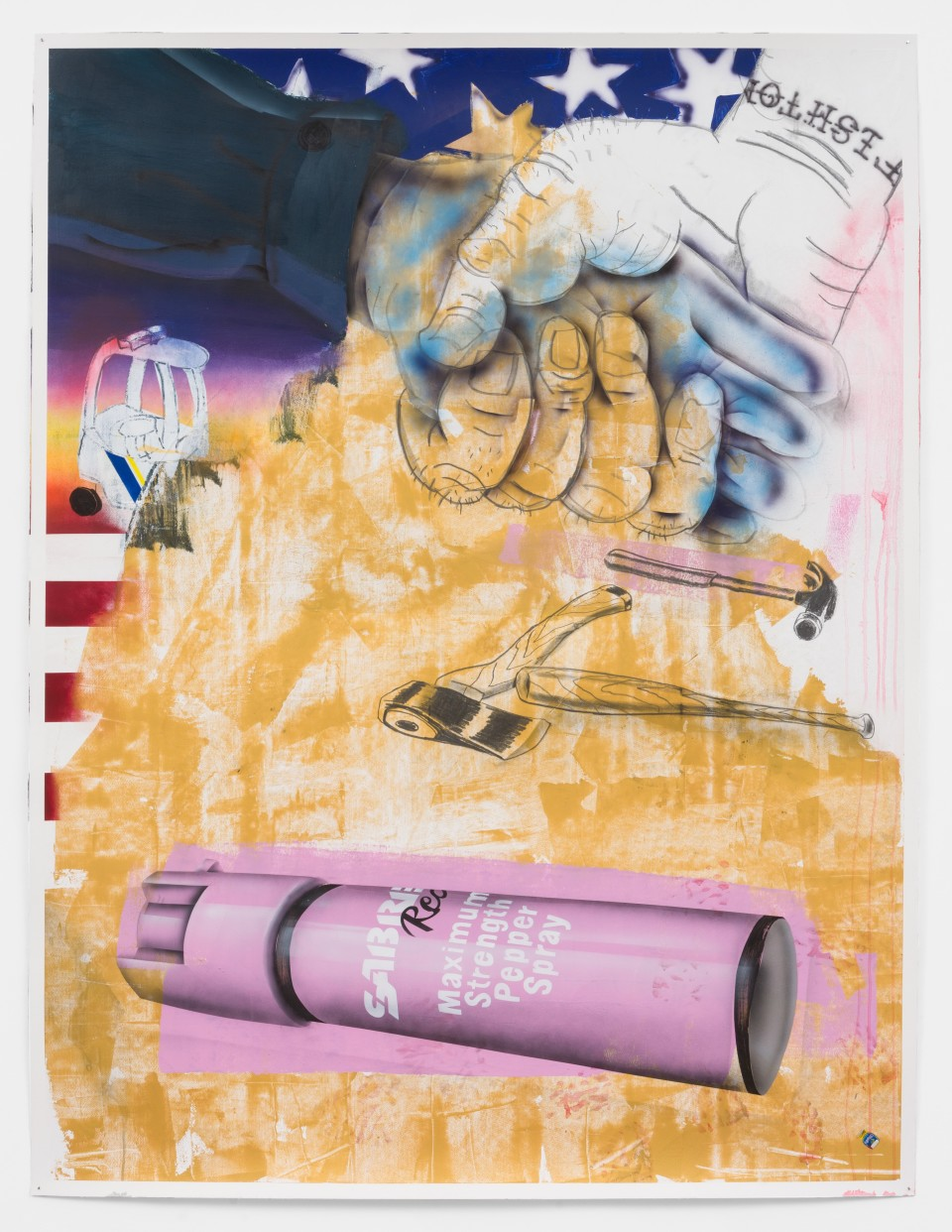 """Image: Pat Phillips  Untitled """"The first line of defense...the only defense...the only LEGAL defense against domestic terrorist"""", 2021  signed and dated verso  acrylic, graphite stick, graphite ingot, airbrush, aerosol paint on paper  paper size: 72 1/2 x 55 inches (184.2 x 139.7 cm) framed size: 75 1/4 x 58 1/8 inches (191.15 x 147.64 cm)"""