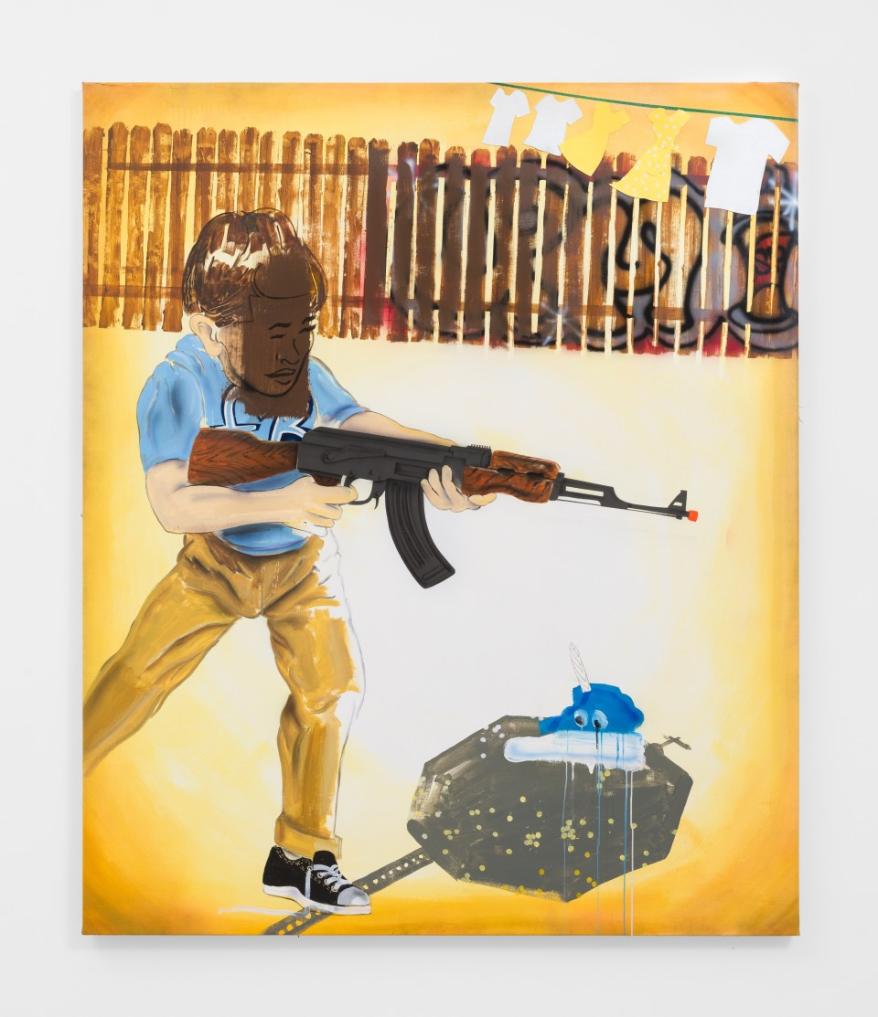 Image: Pat Phillips  Brown Wash / AK47 Marauder , 2019  signed, titled and dated verso  acrylic, airbrush, aerosol paint on canvas  70 x 58 3/4 inches (177.8 x 149.2 cm)