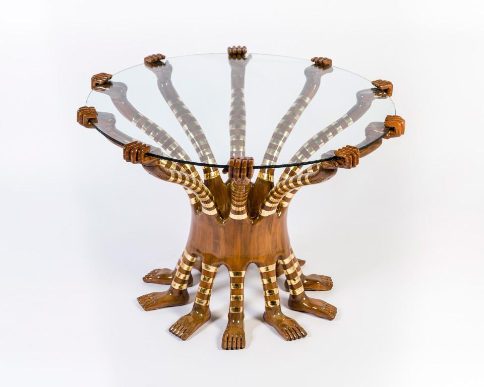 Image: Pedro Friedeberg  Tiger Table, 2016  signed and dated  hand carved cedar wood, gold leaf and glass  29 1/8 x 43 1/4 x 39 3/8 inches (74 x 110 x 100 cm)