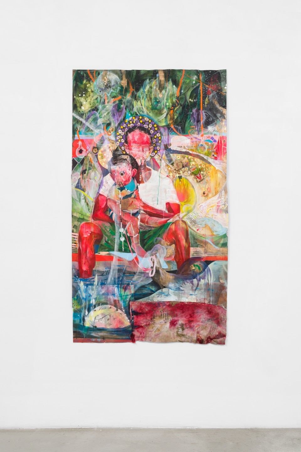 Image: Lavar Munroe  Virgin and Child, 2020  signed verso  acrylic, spray paint, mousetraps, bubble gum, pearls, bath towel, thread and needle on canvas  70 1/2 x 40 1/2 inches (179.1 x 102.9 cm)