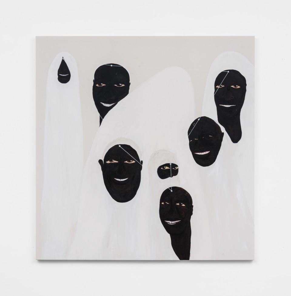 Image: Kelton Campos Fausto  Fun Fun, 2021  mixed media on canvas  64 x 62 inches (162.6 x 157.5 cm)