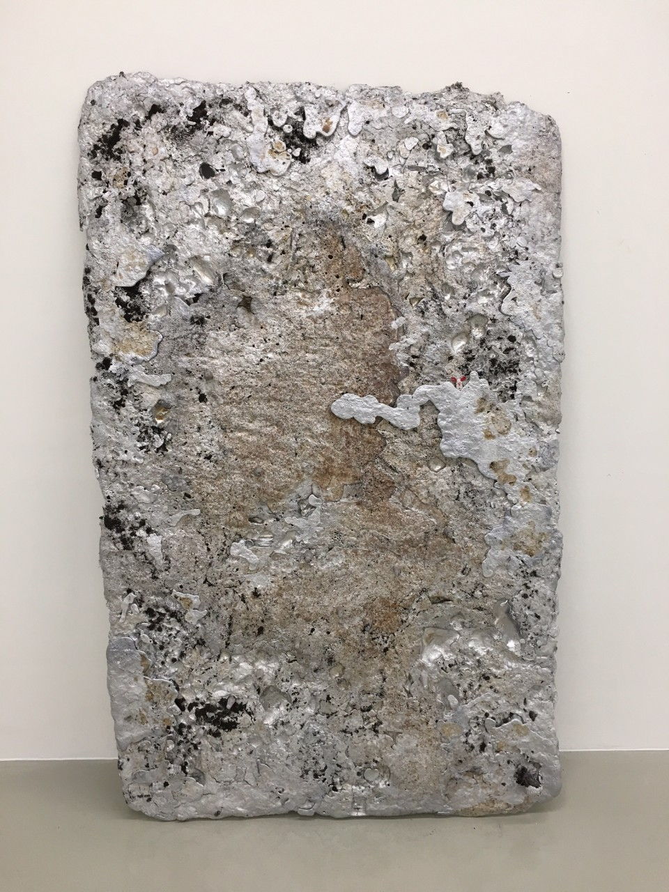 AL Land, 2016  Aluminium, Sand, Pearls  124 x 194 x 7 cm 48 7/8 x 76 3/8 x 2 3/4 in