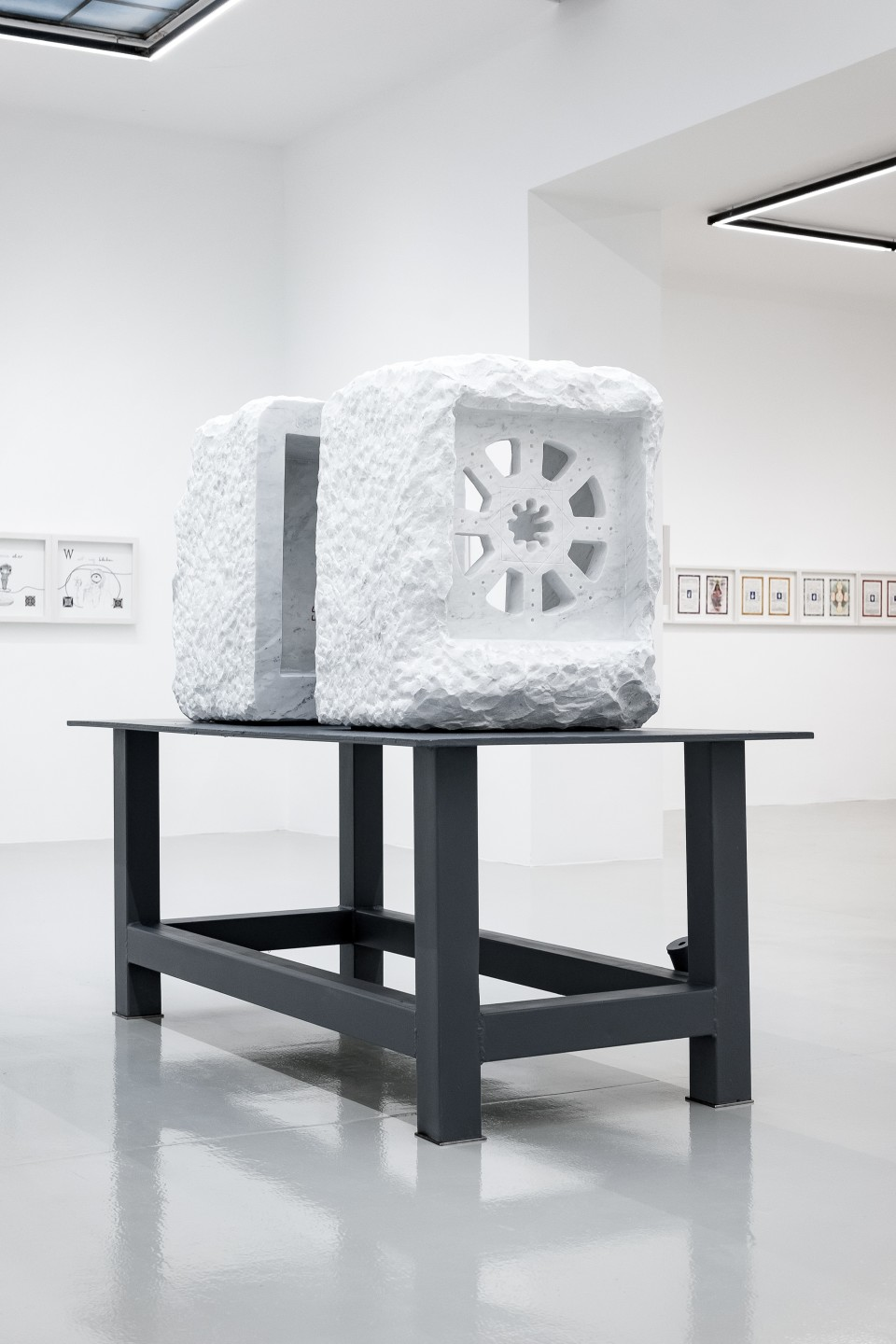 Markus Redl Stein 142-143 (Rechtsfreier Raum), 2015 Bianco Carrara marble on steel table 1,2 t 200 x 170 x 100 cm 78 3/4 x 66 7/8 x 39 3/8 in