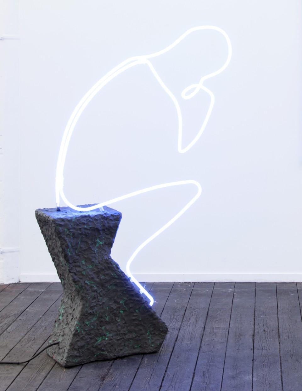 Lindsay Lawson  Der Denker, 2015  Neon, plasticine, wood  140 x 80 x 40 cm 55 1/8 x 31 1/2 x 15 3/4 in