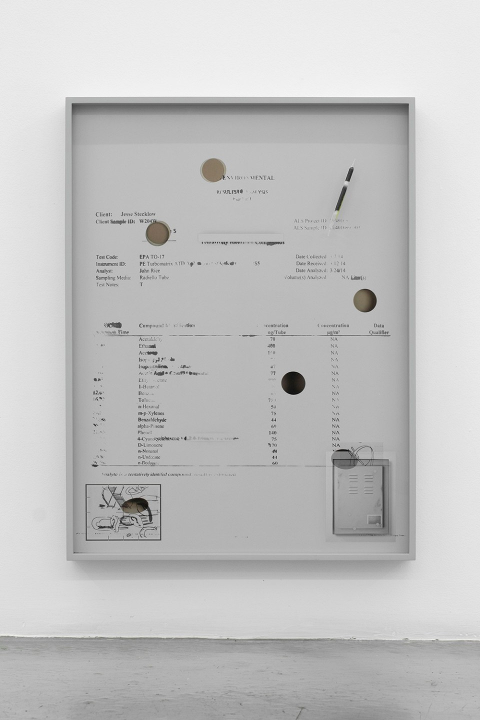 Image: Jesse Stecklow  Untitled (Variant), 2014  framed archival pigment print, Munsell neutral gray paint, sorbent tube  24 x 18 x 2-1/2 inches  unique