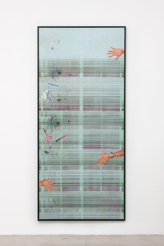 Image: Matthew Brandt, Heidelberg Blanket K1 (Damiani Editore, Faenza, Italy), 2018, embroidery on Heidelberg cleaning blanket, 95-3/8 x 42-7/8 inches