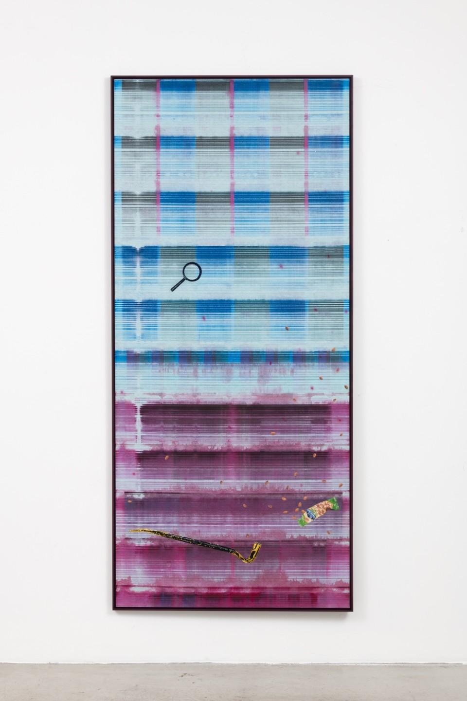 Image: Matthew Brandt, Heidelberg Blanket CM1 (Damiani Editore, Faenza, Italy), 2018, embroidery on Heidelberg cleaning blanket, 95-3/8 x 42-7/8 inches