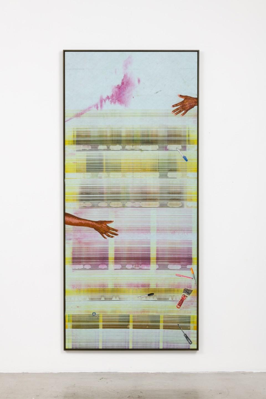 Image: Matthew Brandt, Heidelberg Blanket Y1 (Damiani Editore, Faenza, Italy), 2018, embroidery on Heidelberg cleaning blanket, 95-3/8 x 42-7/8 inches