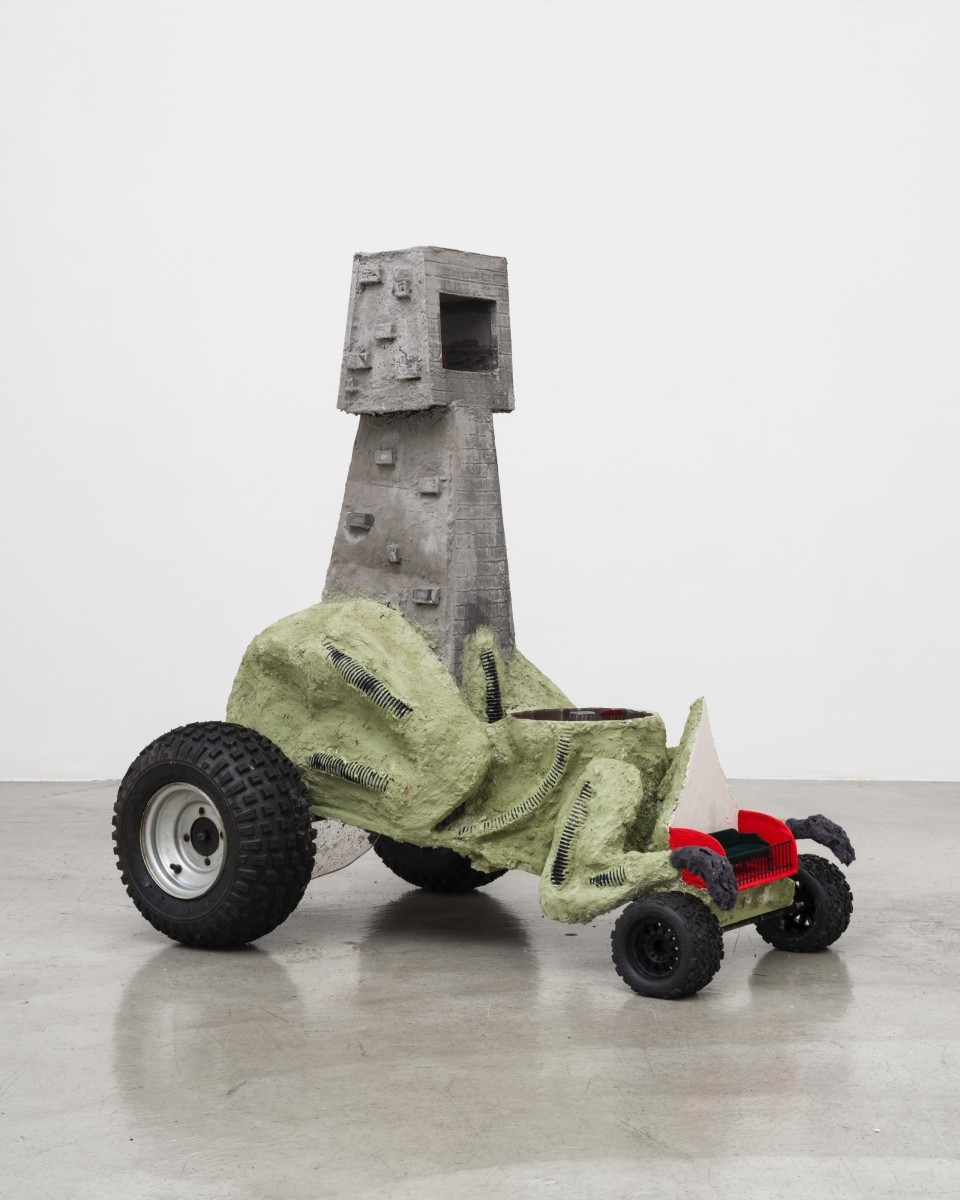 Image: Sam Davis, Hell Class Mobile Cathedral, 2018, wood, paper-mâché, ink, pigmented urethane, doll furniture, tires, hardware, steel, foam and plastic, 49 x 35 x 48 inches