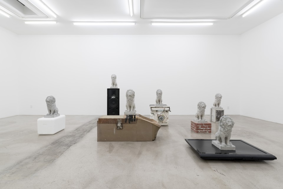 Image: Installation view of Daniel Boccato and Loup Sarion: Cannibal Valley at M+B, Los Angeles