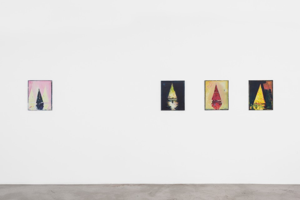 Image: Installation view of Nathan Zeidman: Sailboat Paintings at M+B, July 18 - August 15, 2020