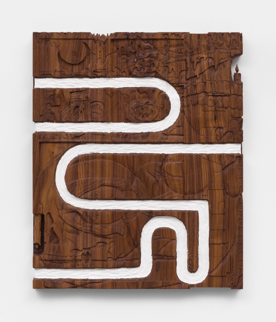 Image: Josh Dihle  Arrangement with God, 2021  oil on walnut  26 x 21 x 1 1/2 inches