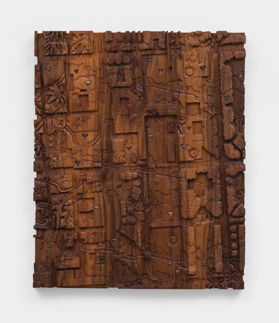 Image: Josh Dihle  Extraction, 2021  fossils on walnut  26 x 21 x 1 1/2 inches