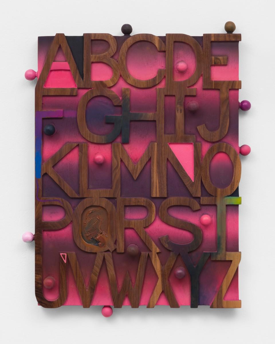 Image: Josh Dihle  Sunset Alphabet, 2021  oil and acrylic on walnut  26 x 22 x 2 1/2 inches