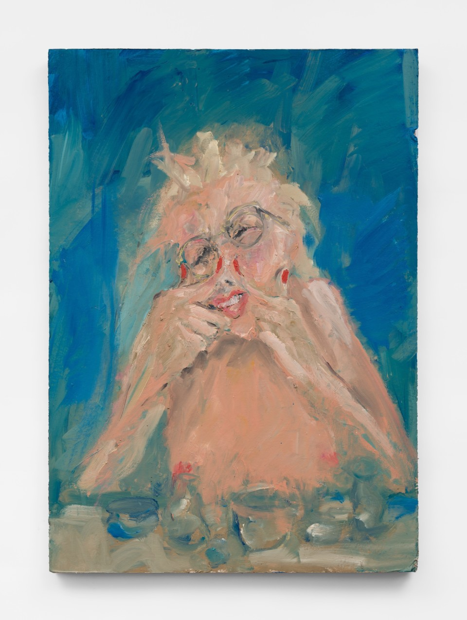 Image: Eva Beresin  Never stand naked in front of a mirror and when that happens I close my eyes tight, 2021  signed, dated and titled verso  oil on cardboard  39 x 27 1/2 inches (99.1 x 69.8 cm)  (EBe.21.015.39)