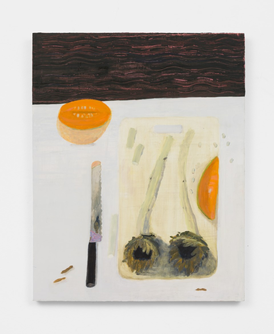 Image: Aubrey Levinthal  Knife Reflection, 2021  signed, titled and dated verso  oil on panel  30 x 24 inches (76.2 x 61 cm)  (ALe.21.003.30)