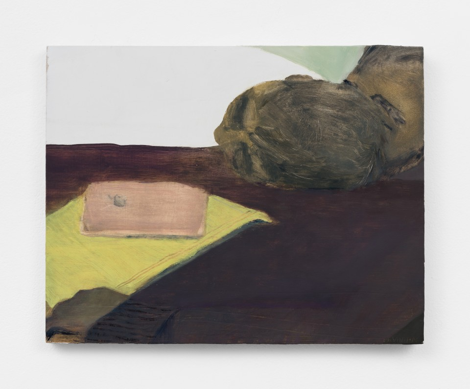 Image: Aubrey Levinthal Man as Table, 2021 signed, titled and dated verso oil on panel 11 x 14 inches (27.9 x 35.6 cm) (ALe.21.008.11)