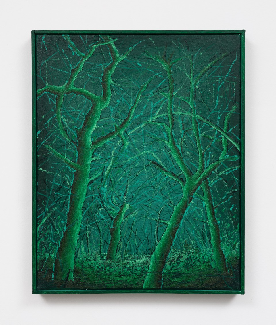 Image: Ross Caliendo  4 Green Trees, 2021  oil and acrylic on canvas with wooden frame  20 1/2 x 17 inches (52.1 x 43.2 cm)  (RC.21.001.20)