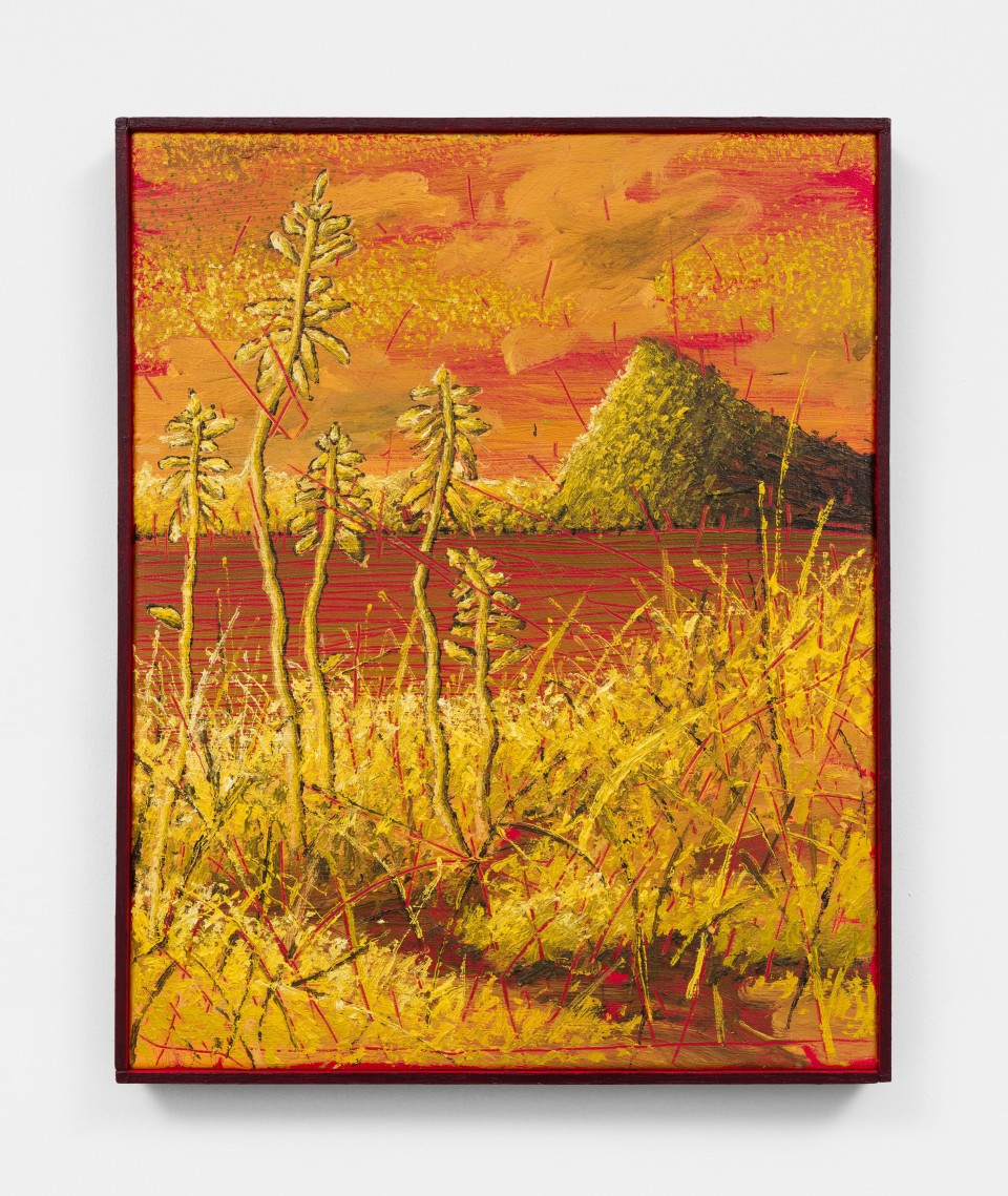 Image: Ross Caliendo  Yellow Mountain, 2021  oil and acrylic on canvas with wooden frame  20 1/2 x 17 inches (52.1 x 43.2 cm)  (RC.21.002.20)