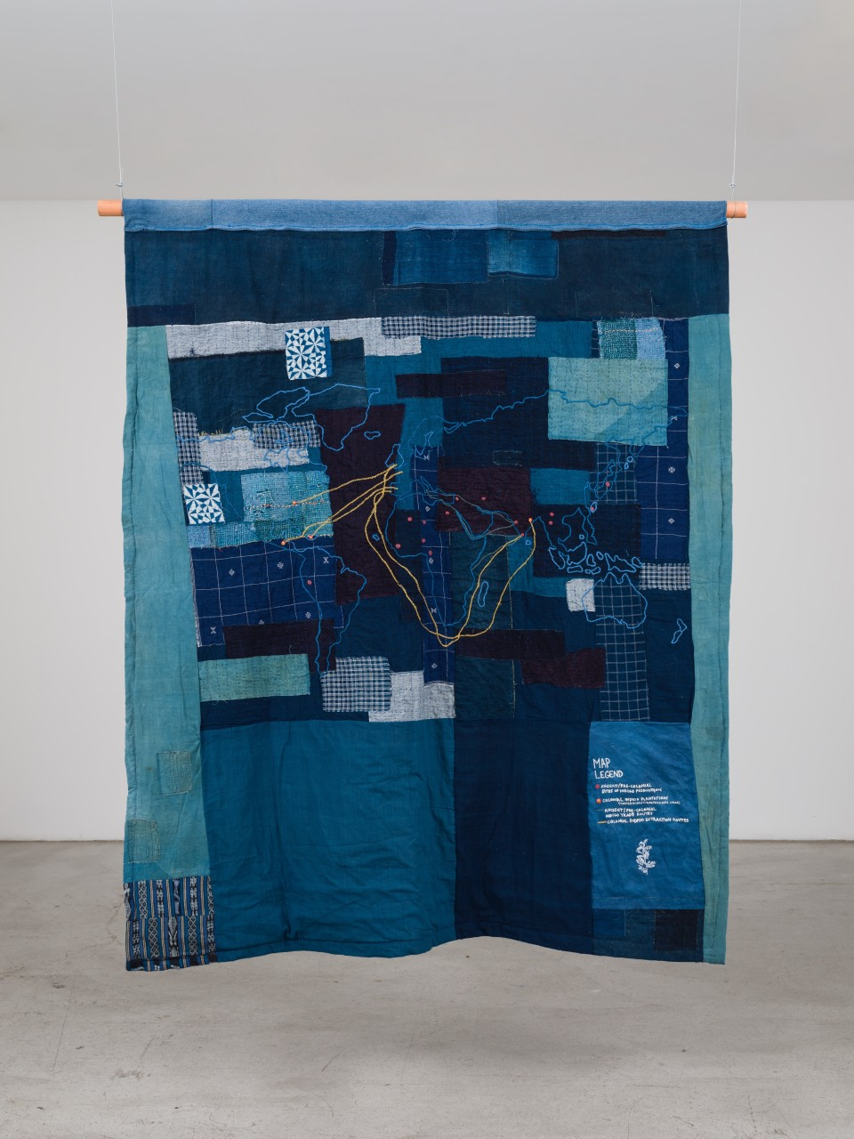 Image: Bhasha Chakrabarti  It's a Blue World, 2021  used clothing, fabric, and thread  83 x 74 inches  (BCh.21.005.85)