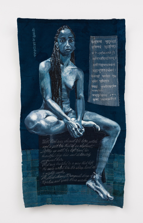 Image: Bhasha Chakrabarti  To be so Black and Blue (Alani as Krishnaa), 2021  used clothing, thread, oil, persicaria tinctoria, and verses from Mahabharata  76 x 44 inches (193 x 111.8 cm)  (BCh.21.002.74)