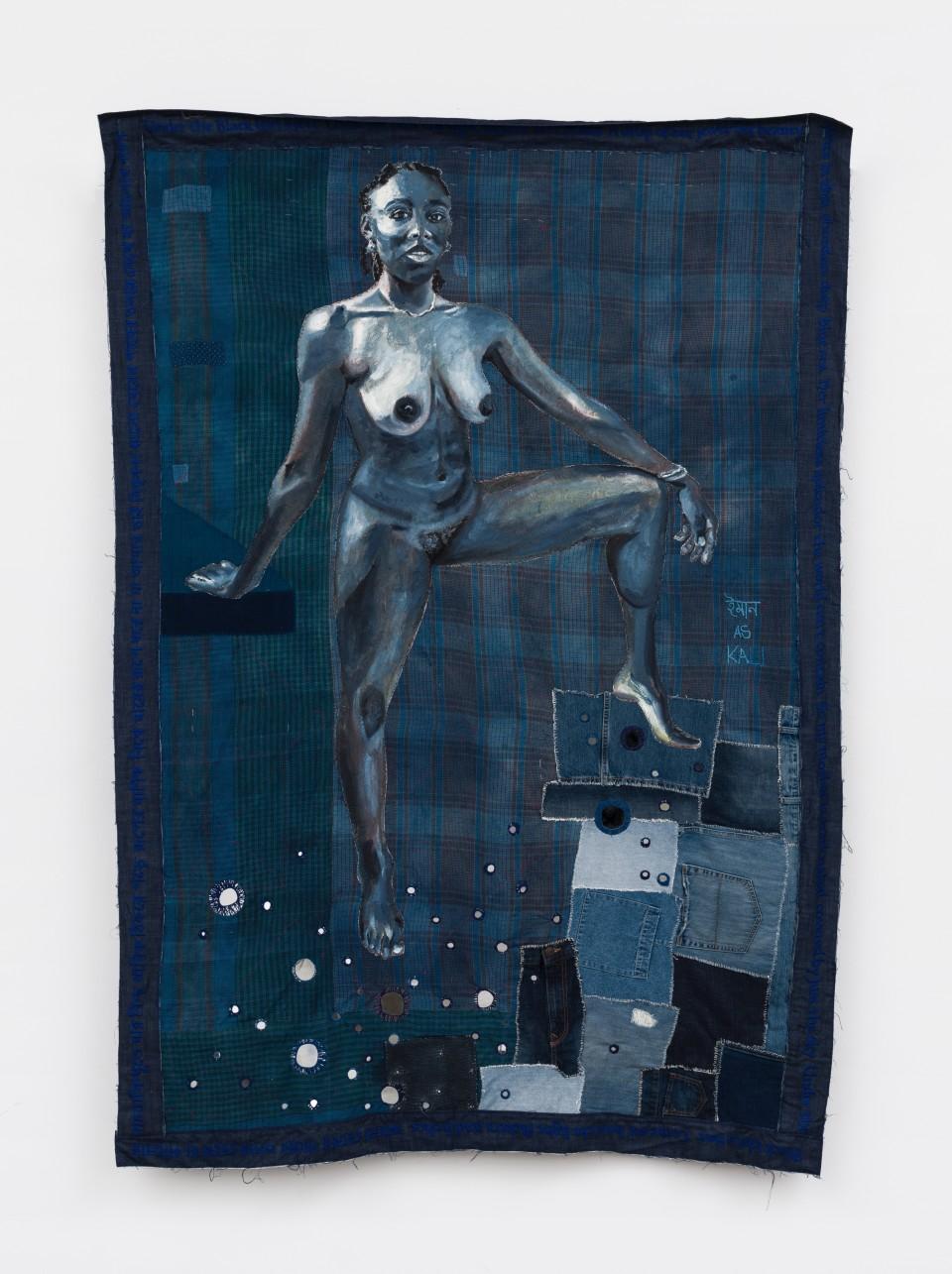 Image: Bhasha Chakrabarti To be so Black and Blue (Iman as Kali), 2021 used clothing, thread, oil, indigofera tinctoria, mirrors, and song by Kazi Nazrul Islam 87 x 60 inches (BCh.21.003.86)