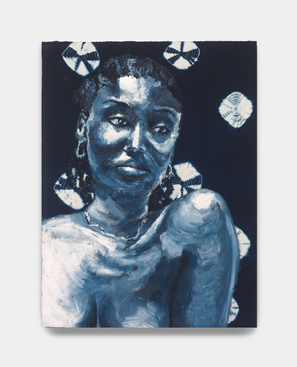 Image: Bhasha Chakrabarti  While I Just Sit Here and Sigh, Go 'long Blues, 2021  Indigofera Tinctoria, encaustic, and handwoven adire cloth on panel  24 x 18 inches (61 x 45.7 cm)  (BCh.21.019.24)