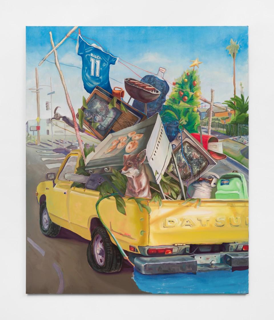 Image: Elmer Guevara  Our Baggage, 2021  mixed media on canvas  72 x 60 inches (182.9 x 152.4 cm)  (EGu.21.008.72)