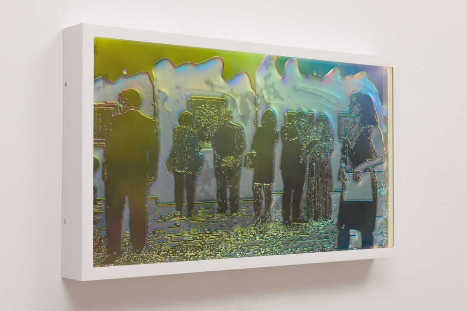 Image: Matthew Brandt LCD 31.4, 2015 plastic resin on plastic with polarization lenses in LED lightbox frame 15-1/2 x 27-1/4 x 2-3/4 inches unique  (MBr.18.0004.15)