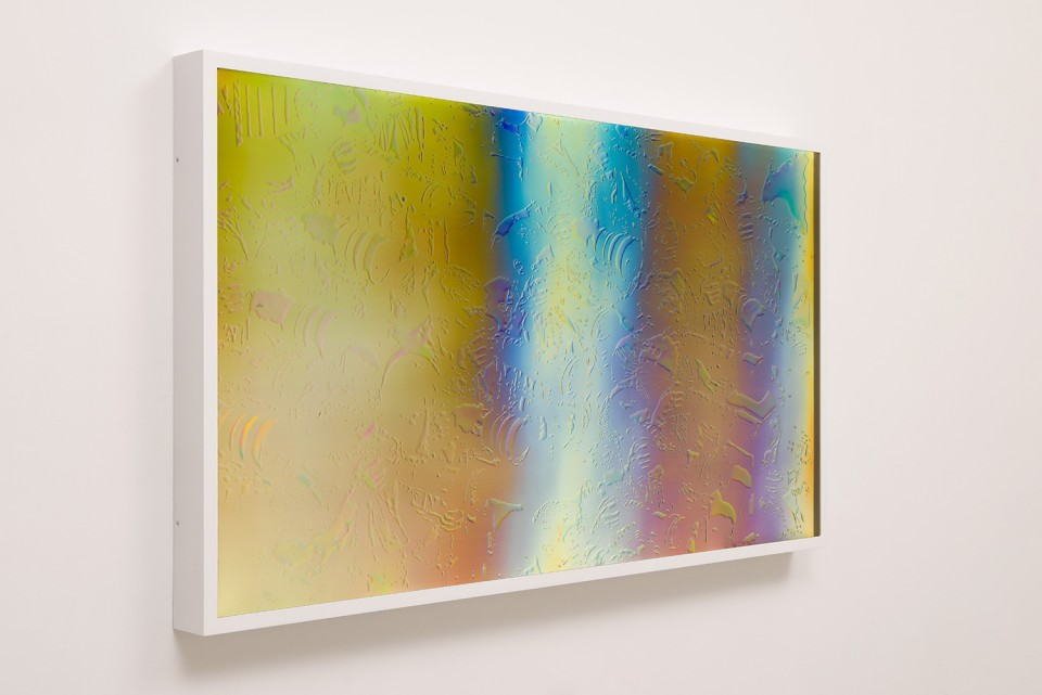 Image: Matthew Brandt LCD 55.3, 2015 plastic resin on plastic with polarization lenses in LED lightbox frame 27-1/4 x 48-1/4 x 2-3/4 inches unique  (MBr.18.0007.27)