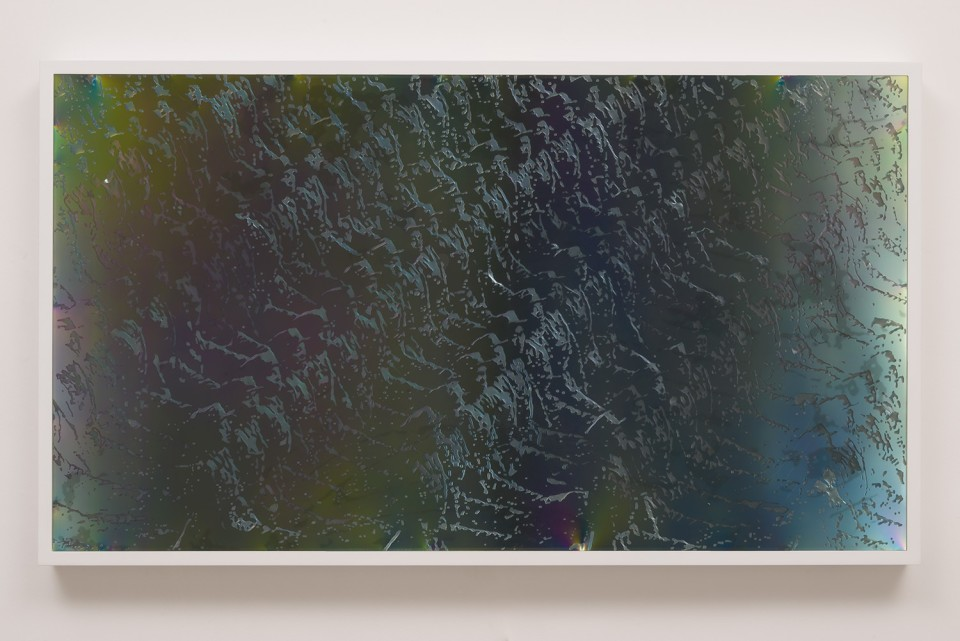 Image: Matthew Brandt LCD 55.4, 2015 plastic resin on plastic with polarization lenses in LED lightbox frame 27-1/4 x 48-1/4 x 2-3/4 inches unique  (MBr.18.0008.27)