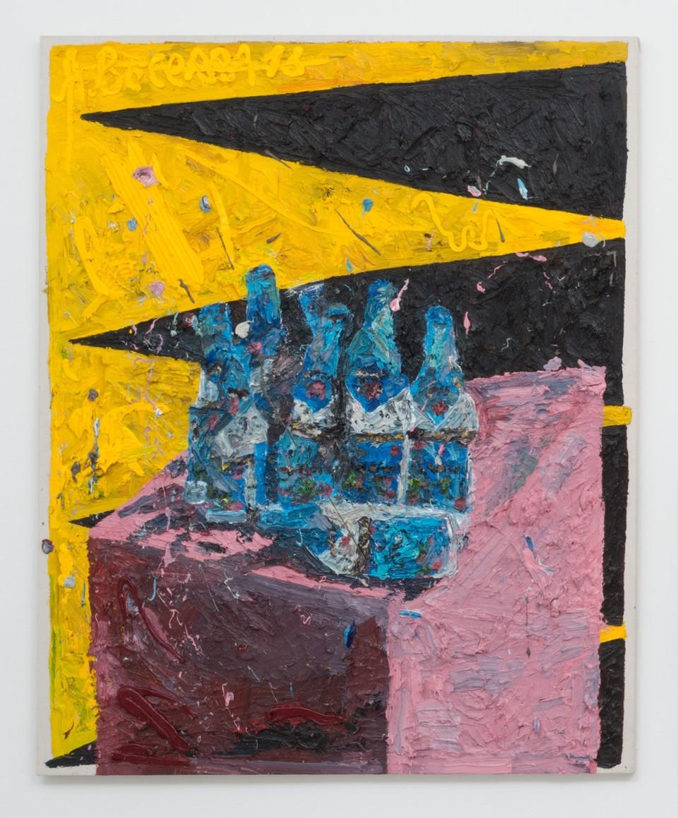 Image: Alex Becerra  A painting of broken Bottles (Delirium Tremens), 2016  oil paint on canvas  60 x 48 inches