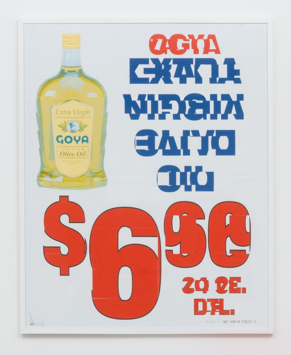 Image: Bjorn Copeland  Goya Over Easy, 2016  reworked grocery poster  45 x 35 inches
