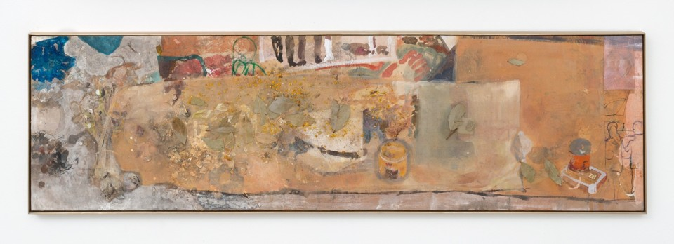 Image: Chase Wilson  Aqueduct/Parade #7 (small canned fish/Georgia O' Keeffe), 2016  gouache, ink, acrylic, laurel leaves, onion peel, bee pollen, on rice paper on silk, brass frame  14-1/4 x 50 inches